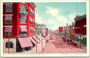 1908 EL PASO Texas FRED HARVEY Postcard Looking South Down El Paso Street