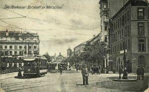 poland, WARSAW WARSZAWA, Krakowskie Przedmieście, Tram (1910s) Postcard
