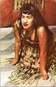 Vtg Postcard 1970 New Zealand Maori Girl Wearing Flax Kilt Tamico Bodice Tiki