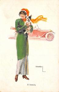 Lottie Usabal~Glamour Lady Holds Boston Terrier~A Beauty~Jan Zwennes Hague Adv