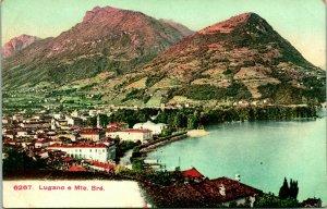 Vtintage Carte Postale 1910-1915 Suisse Lugano E Monte Brè Panoramique Vue Litho