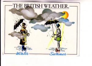 Two Cartoon Men with Umbrellas, Winter, Summer, The British Weather, Comic