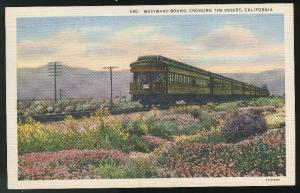California Train Westward Bound Crossing the Desert Vintage 1936 Linen Postcard