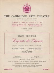 Joyce Grenfell Paddy Stone Irving Davies Musical Cambridge Arts Theatre Progr...