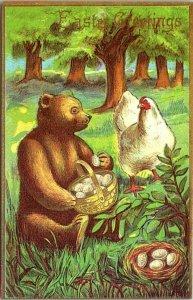 VTG Postcard Bear Cub Chicken Eggs Doll Cellar Seattle Washington 1991 NY  1320