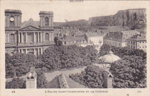L´Eglises Saint-Christophe et le Chateau, Belfort, Franche-Comte, France, 00...