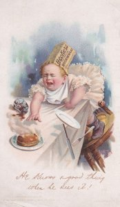 TC: Hecker's Self Rising Buckwheat flour, baby reaching for pancakes, 1890s