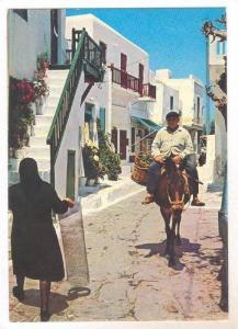Village view , Man rides donkey on street, Greece,  50-70s