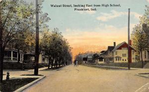 Frankfort Indiana~Walnut Street~Homes East From High School~1921 Postcard