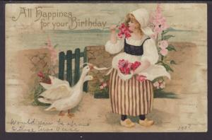 Happiness For Your Birthday,Dutch Girl,Geese Postcard