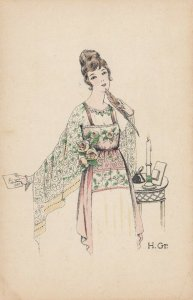 ART DECO ; Female wearing floral pink and green dress, envelope, 1910-20s