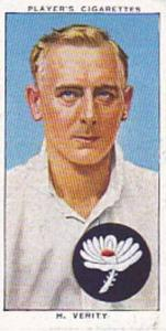 Player Vintage Cigarette Card Cricketers 1938 No 28 H Verity Yorkshire & England