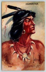 L Peterson~Native Americana~Indian Brave Hiawatha Portrait~Emboss~1908 HH Tammen