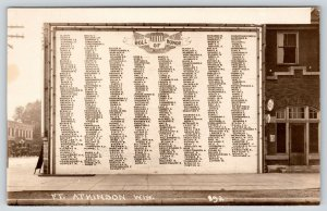 Ft Fort Atkinson Wisconsin~WWI Soldiers Honor Roll Sign~Bell Telephone~1918 RPPC