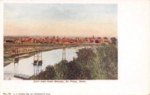 St Paul Minnesota~City Panorama Behind High Bridge~1905 VO Hammon Postcard