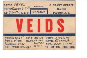 J Grant Currie, Pictou, Nova Scotia QSL VE1DS, Used 1936