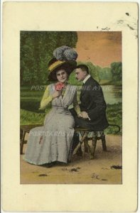 Couple Meeting on Park Bench by River Vintage Postcards Sunset Pink Rose Woman