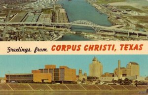 GREETINGS FROM CORPUS CHRISTI, TX HARBOR BRIDGE AND SKYLINE OF CITY