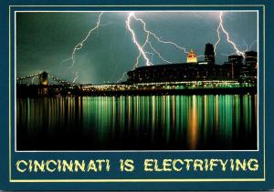 Ohio Cincinnati Skyline Under Lightning