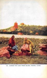 Peking China~Men on Rocks Across the Lake from Island~1910 Postcard