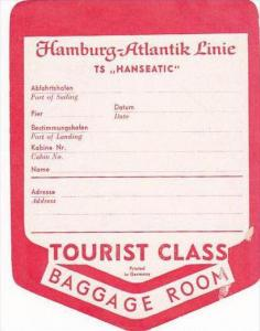 TS HANSEATIC HAMBURG-ATLANTIK STEAMSHIP LINES VINTAGE STEAMSHIP LABEL