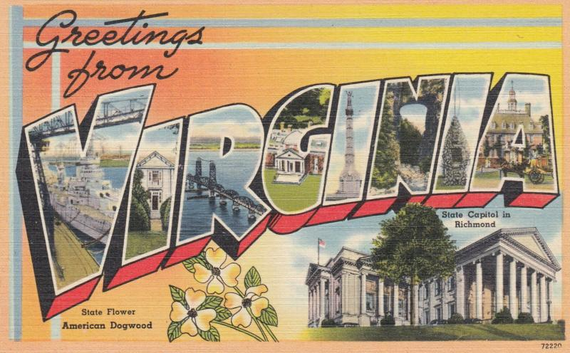 Large Letter Greetings ; VIRGINIA , 30-40s