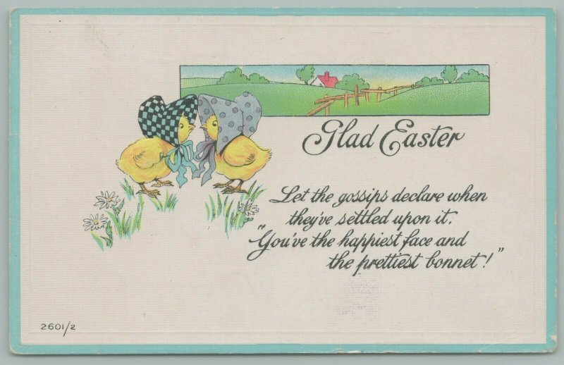 Easter Fantasy~Lil Girl Chicks In Bonnets Gossip~Fenced Country Scene Behind~Emb