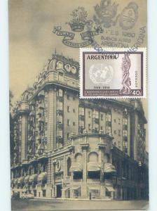 1958 postcard COMMEMORATIVE POSTAGE STAMP & HOTEL Buenos Aires Argentina F6566