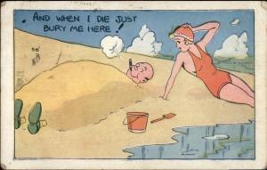 Sexy Bathing Beauty - Bald Guy Buried in Sand on Beach Smoking Cigar Postcard