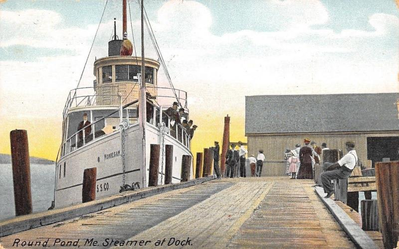 Round Pond Maine~Steamer Monhegan~Landing Dock~Folks Greet Ship~Captain~1909