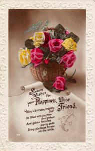 Embossed: Sincere Wishes for your Happiness, Dear Friend, Roses, real photo