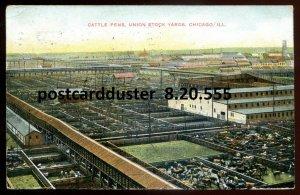 555 - CHICAGO Illinois Postcard 1908 Union Stock Yards. Cattle Pens