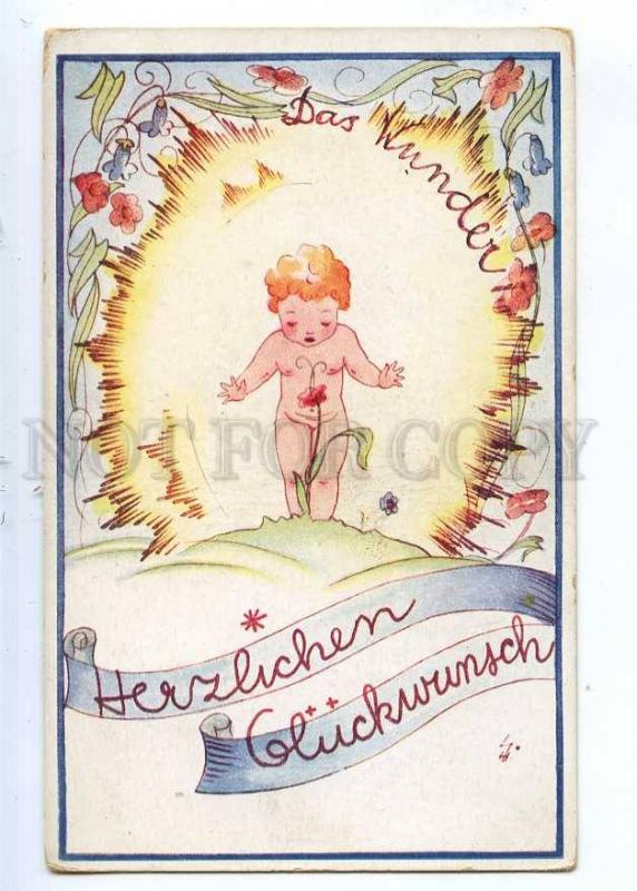 190241 BIRTHDAY Nude Kid NYMPH FAIRY Flowers Vintage postcard