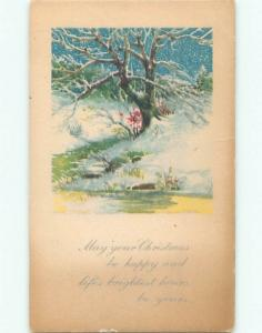 Divided-Back CHRISTMAS SCENE Great Postcard W9555