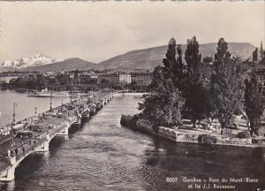 Switzerland Geneve Pont du Mont-Blanc et Ile J J Rousseau 1937 Photo