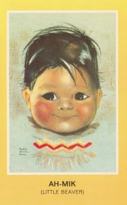 Indian Child , Ah-Mik , Little Beaver ; Artist Audrey Young Oppel , 50-60s
