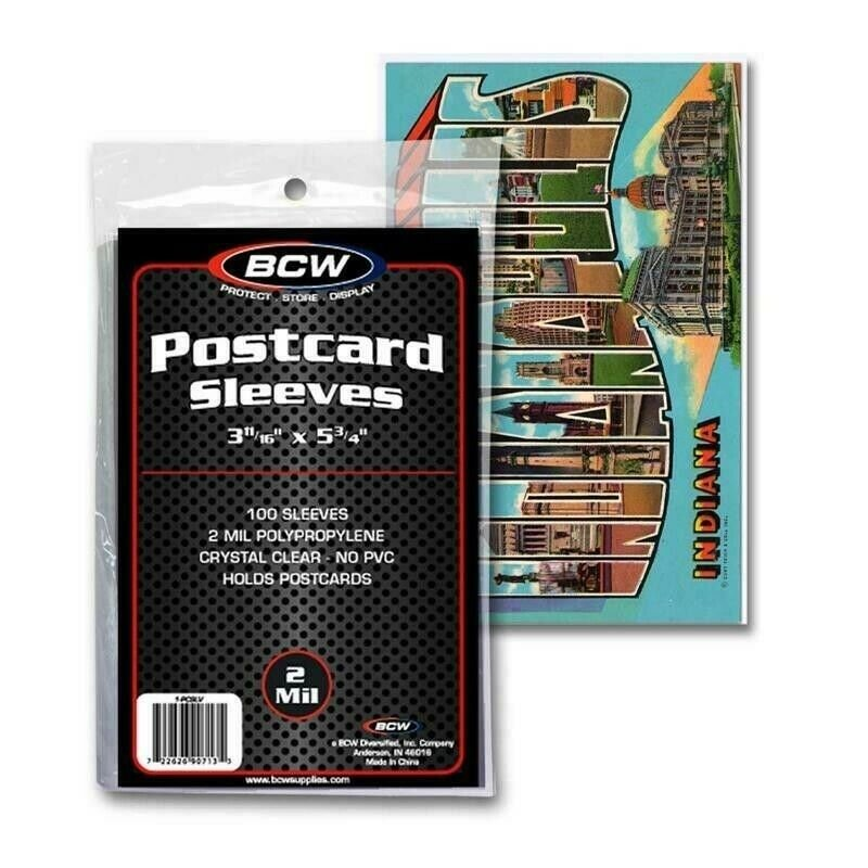 Postcard Sleeves 3.5 x 5.5 BCW Standard Size Archival Protector 100 Bags