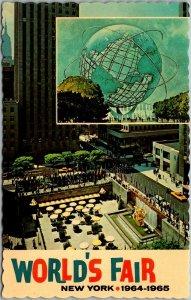 1964 NEW YORK WORLD'S FAIR Expo Postcard POSTER ART w/ Unisphere - Unused