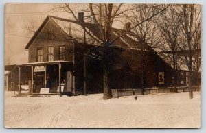 Real Photo Postcard~Levin Store in Snow~Walk Over Shoes Poster~c1908 RPPC