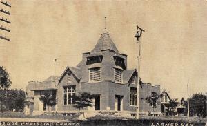Larned Kansas~Christian Church~Stout Belltower~Postcard B&W c1910