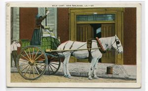 Milk Cart Maid Horse Wagon New Orleans Louisiana 1934 postcard