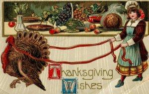 Circa 1910 Thanksgiving Wishes, Cute Girl Roped Turkey Vintage Postcard P23