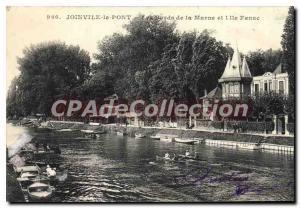 Old Postcard Joinville Le Pont De La Marne edges And I'Ile Fanac