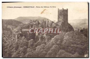 Postcard Old picturesque Alsace Ribeauville Ruin of the Chateau St Ulric
