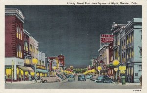 Ohio Wooster Liberty Street East From Square At Night Woolworth Curteich sk5179
