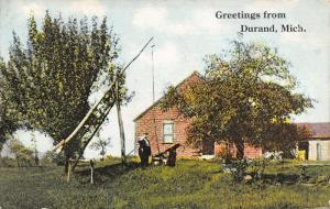 Durand Michigan Greetings~Man at the Well~Farm House~Baby is Dandy~1914 Postcard