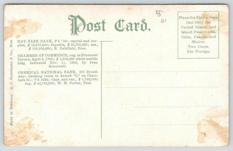 New York City~Chamber of Commerce~National Park & Chemical Banks~c1910 Postcard