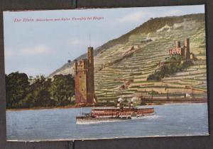Rhein River View Of Bingen With River Cruise Ships - Unused - Edge Wear