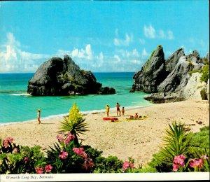 JD0023 bermuda horseshoe bay carribean sea sandy beach flowers stamp