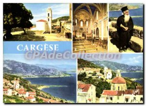 Postcard Modern Semi Corsica Oasis Beauty Cargese the Roman Church and the Gr...